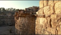 Stock Footage of stone brick walls at Beit She'an in Israel.