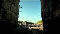 Stock Footage of columns through an archway in Israel.