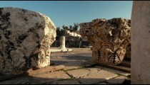 Stock Footage of two Corinthian column capitals in Israel.
