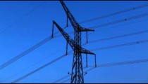 Stock Footage of a tower and power lines against the blue sky in Israel.