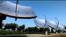 Stock Footage of a row of solar panel dishes in Israel.