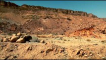 Stock Footage drive-by of Makhtesh Ramon cliffs in Israel.