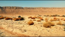 Stock Footage drive-by of the Makhtesh Ramon desert floor in Israel.