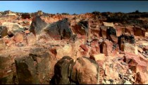 Stock Footage of a red and black rocky landscape in Israel.