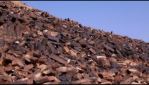 Stock Footage panorama of natural rock columns in Israel.