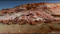 Stock Footage of a stream in a rocky, desert landscape in Israel.