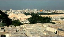 Stock Footage of Jewish Cemetery and Old Jerusalem in Israel.