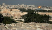 Stock Footage of the Temple Mount from the Jewish Cemetery in Jerusalem, Israel.