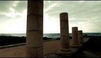 Stock Footage of stone columns and the Mediterranean in Israel.