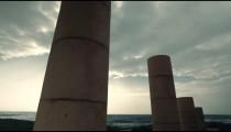 Stock Footage of columns, Mediterranean Sea, and sky in Israel.