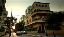 Stock Footage of colorful buildings on a Tel Aviv Street in Israel.
