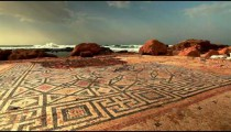 Stock Footage of a mosaic floor on the Mediterranean shore in Israel.