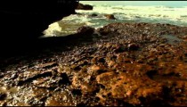 Stock Footage of the rocky Mediterranean shore in Israel.