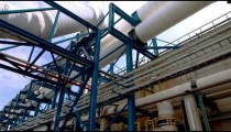 Stock Footage of white pipes at a desalination plant in Israel.