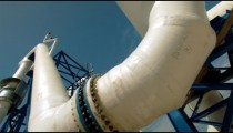 Stock Footage of large white pipes at a desalination plant in Israel.