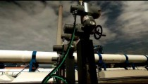 Stock Footage of valves, pipes, and smokestacks in Israel.