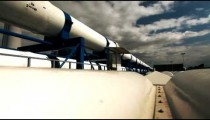 Stock Footage of a white pipeline in Israel.