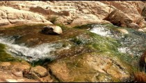 Stock Footage of water cascading down mossy rocks in a blur in Israel.