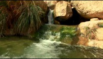 Stock Footage of a stream cascading between boulders in Israel.