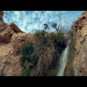 Stock Footage of water cascading down rocks in Israel.