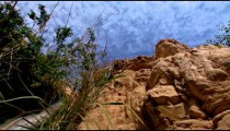 Stock Footage of the blue sky over an Ein Gedi cascade in Israel.