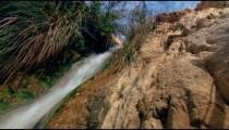 Stock Footage of a cascading stream in a blur at Ein Gedi, Israel.