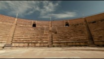 Stock Footage panorama of the theater seating at Caesarea in Israel.