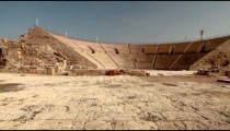 Stock Footage panorama of the theater at Caesarea in Israel.
