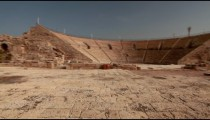 Stock Footage panorama of the ancient theater at Caesarea in Israel.