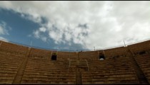 Stock Footage of clouds moving over the theater at Caesarea in Israel.