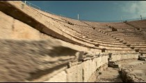 Stock Footage of stone seating at the theater at Caesarea in Israel.