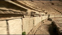 Stock Footage of stone benches at the theater at Caesarea in Israel.