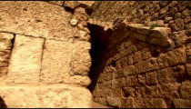 Stock Footage of an arch over a Caesarea alleyway in Israel.