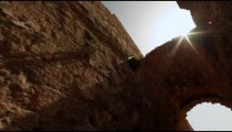 Stock Footage of an arch in a Caesarea alley in Israel.