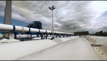 Stock Footage of a desalination plant's white pipeline in Israel.