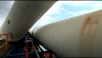 Stock Footage of the large, white pipeline at a desalination plant in Israel.