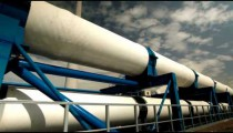 Stock Footage of the pipeline supports at a desalination plant in Israel.