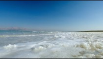 Stock Footage of Dead Sea waves on the salty shore in Israel.