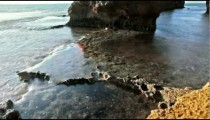the rocky shore of Dor Beach in Israel.