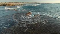 the rocky coast of Dor Beach in Israel.