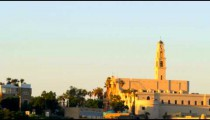 The Mediterranean coast of Jaffa with St. Peter's Church shot in Israel.