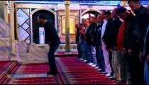 Muslim men praying at a mosque filmed in Israel.