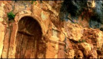 Carved cliff face at Banias shot in Israel.