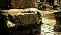 Panning shot of Columns at Bar'am ruins shot in Israel.
