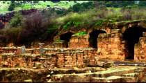 Panning shot of Palace of Agrippa at Banias shot in Israel.