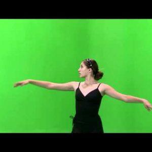 Ballerina dancing on a green screen.