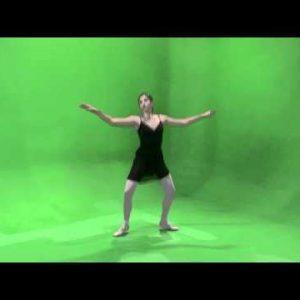 Shot of a ballerina dancing on a green screen.