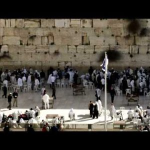 Panning shot of The Western Wall in Israel.