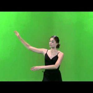 Dancing ballerina on a green screen.