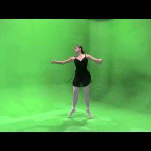 Clip of a dancing ballerina on a green screen.